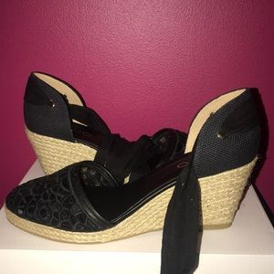 Aldo Shoes - ALDO CUNDARI Espadrilles Black Crochet Tie-Up 8